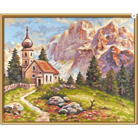 Kleine kerk in de Dolomieten - Schipper 24 x 30 cm