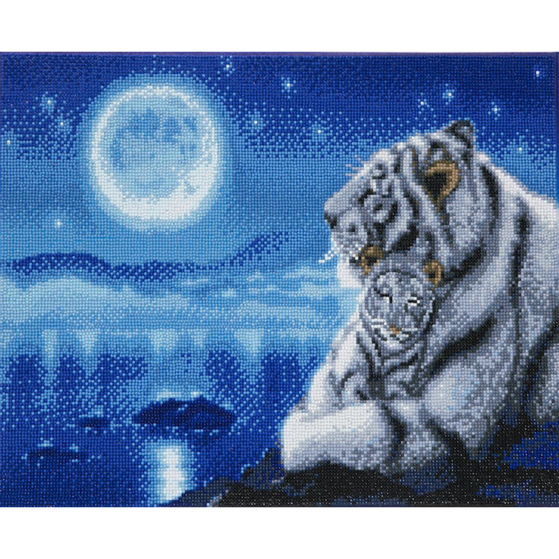 Crystal Art Lullaby White Tigers - 40x50 cm - Full DP