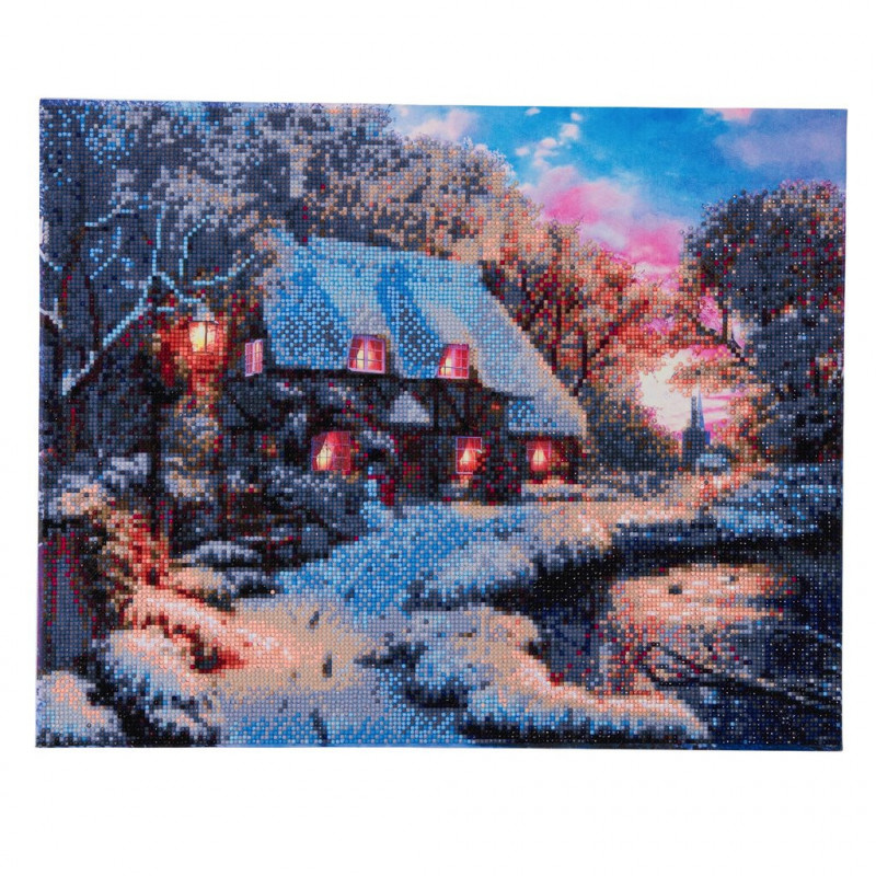 Crystal Art Winter Cottage met LED verlichting - 40x50 cm - Partial DP