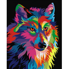 Rainbow Wolf - Paint by Numbers - 50 x 40 cm