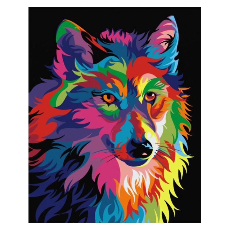 Rainbow Wolf - malen nach zahlen - 50 x 40 cm