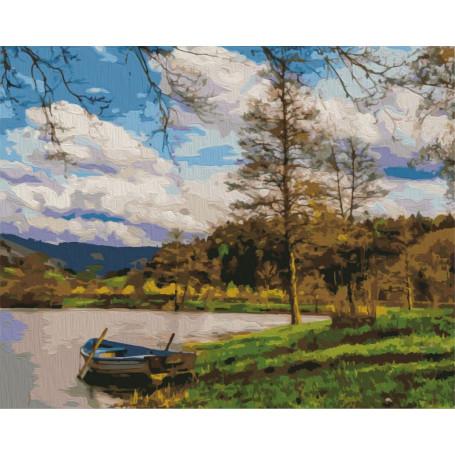 Boot bij de rivier - Schilderen op nummer - 40 x 50 cm