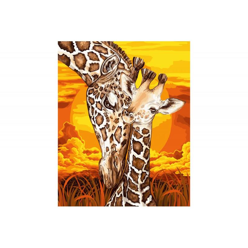 Giraffe met jong Schilderen op nummer