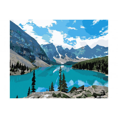 Mountain Lake - Schilderen op nummer - 40 x 50 cm