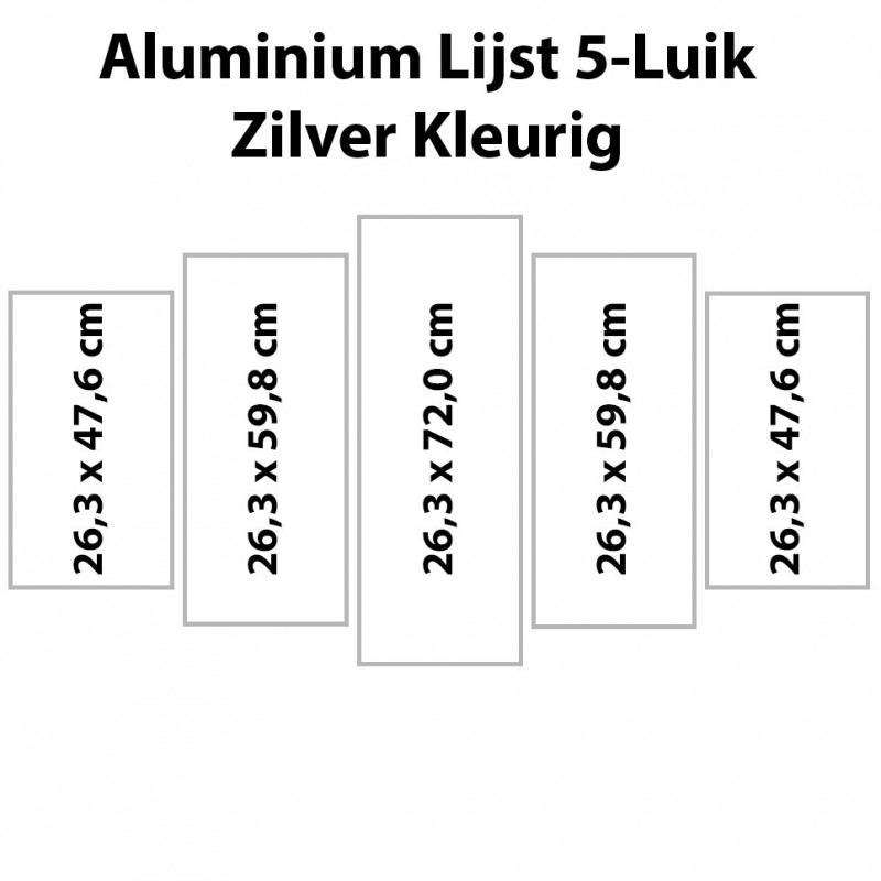 Zilverkl. aluminium lijst vijfluik 132 x 72 cm