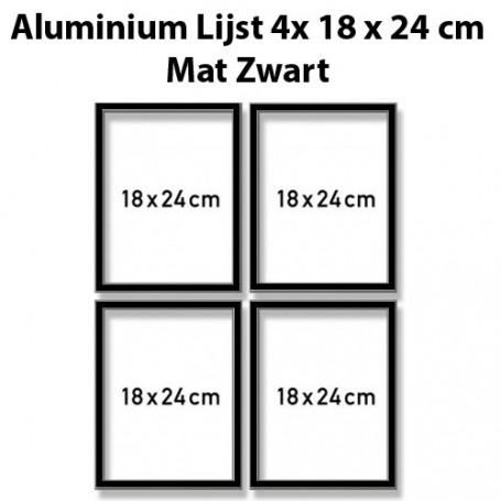 Mat Zwarte aluminium lijst Quattro 18x24 cm