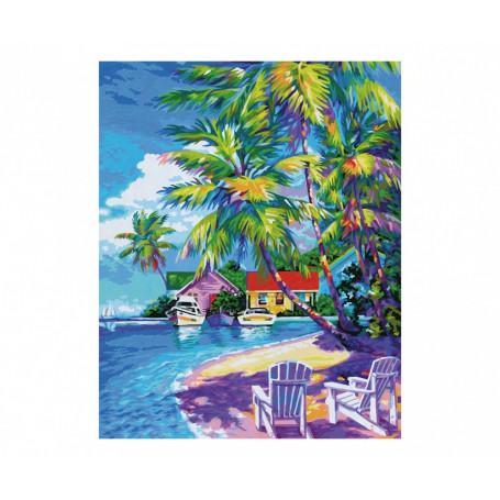 Zonnige Caraïbische Zee - Schipper 40 x 50 cm