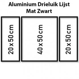 Mat Zwarte Aluminium Drieluik Lijst 50 x 80 cm
