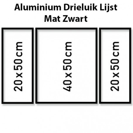 Black Aluminium frame triptysch 50 x 80 cm