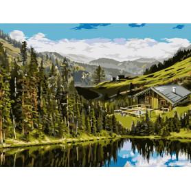House in the Hills - Schilderen op nummer - 40 x 50 cm