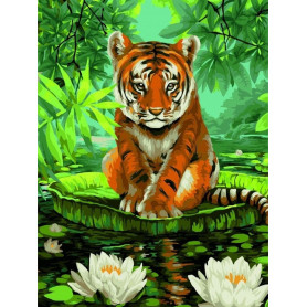 Tiger and Water Lilies - Paint by Numbers - 40 x 50 cm