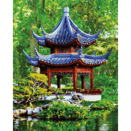 Pagode dans un jardin japonais - Schipper 40 x 50 cm