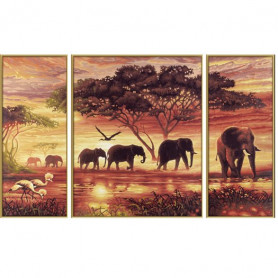De olifanten Karavaan - Schipper Drieluik 50 x 80 cm