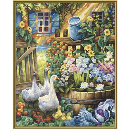 Ganzen in de tuin