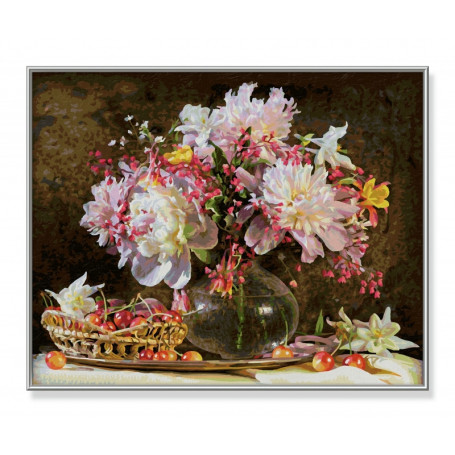Bos bloemen met kersen - Schipper 40 x 50 cm