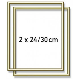 2 Gold-colored aluminium frames 24 x 30 cm