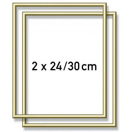 2 Goudkl. aluminium kaderlijsten 24 x 30 cm