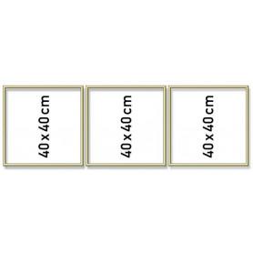 Goudkl. aluminium lijst drieluik 40/120cm