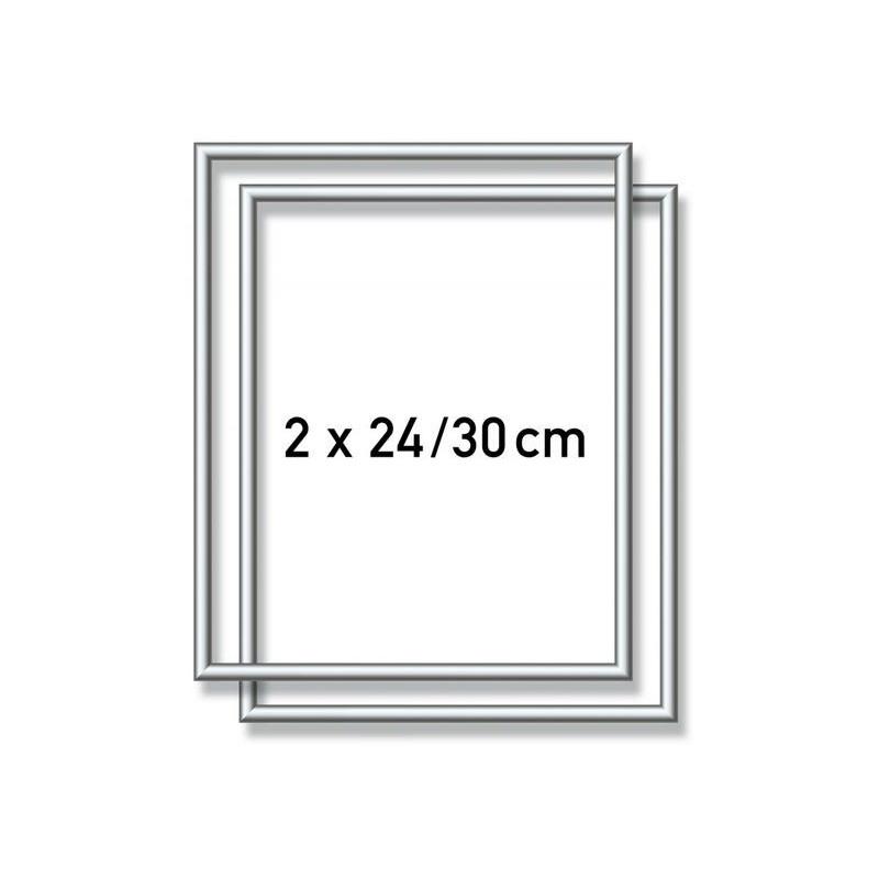 2 Zilverkl. aluminium kaderlijsten 24 x 30 cm