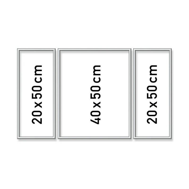 Zilverkl. aluminium lijst drieluik 50/80 cm